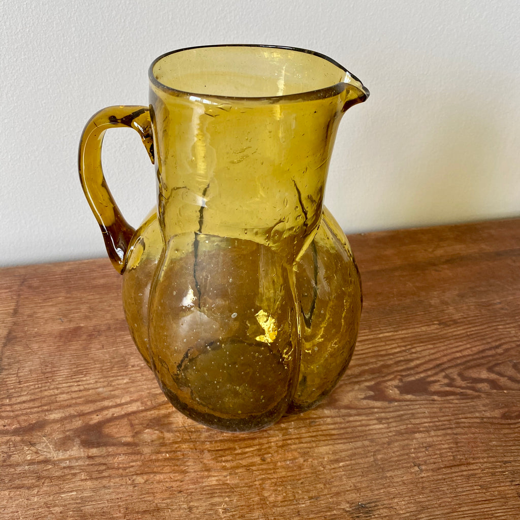 Art Deco Glass Carafe in Amber