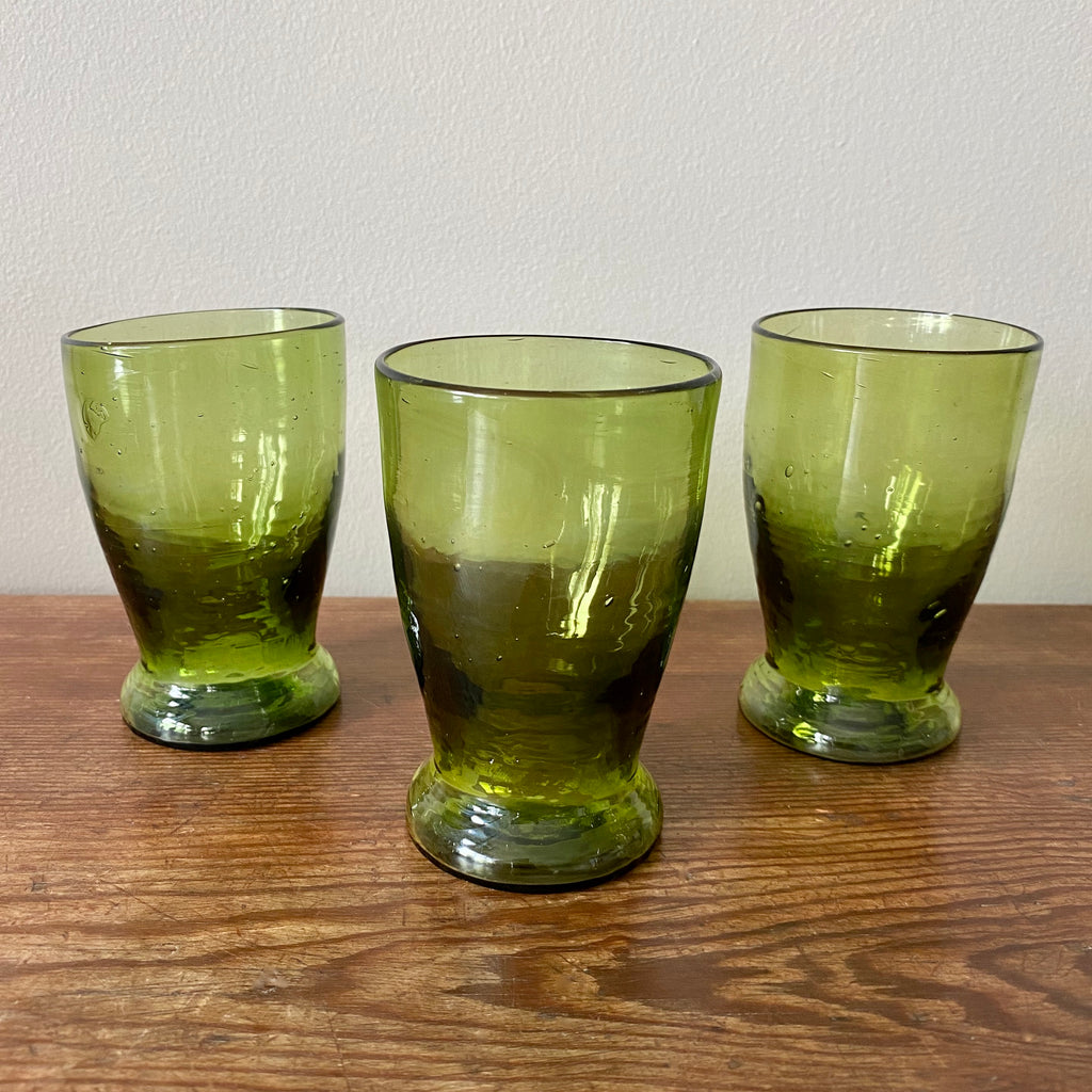Small Footed Glass Tumbler in Olive