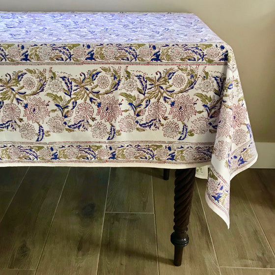 Windsor Flower Hand Block Printed Tablecloth