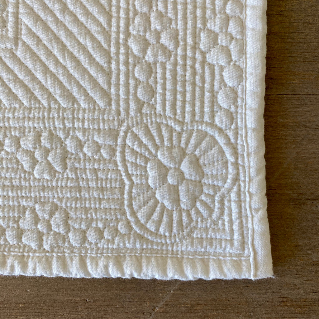 Set of Six Ivory Quilted Cotton Placemats