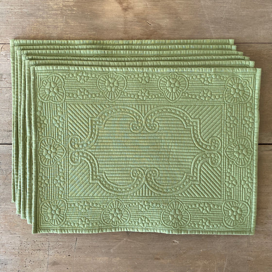 Set of Six Green Quilted Cotton Placemats