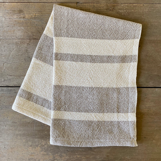 Heirloom Cotton Dish Towel in Taupe Stripe