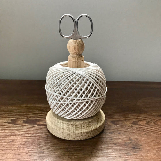 English Oak String Tidy with Scissors