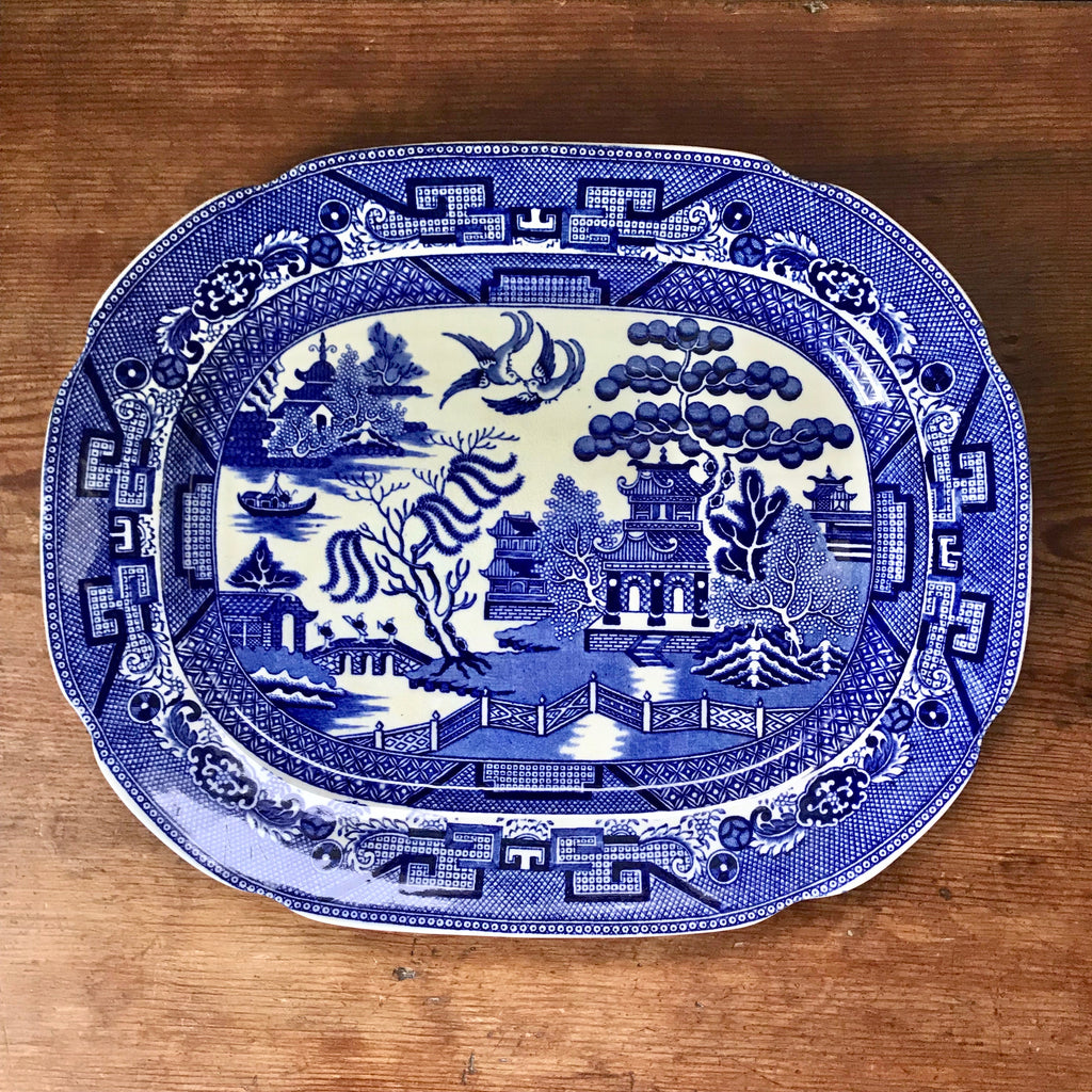 "Antique 13.5"" English Blue Willow Platter"
