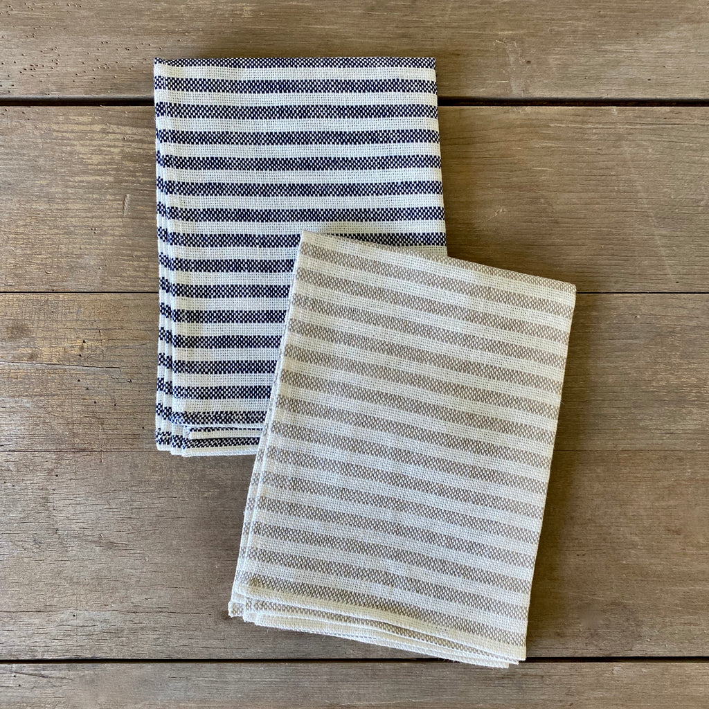 Blue and White Striped Linen Dish Towel
