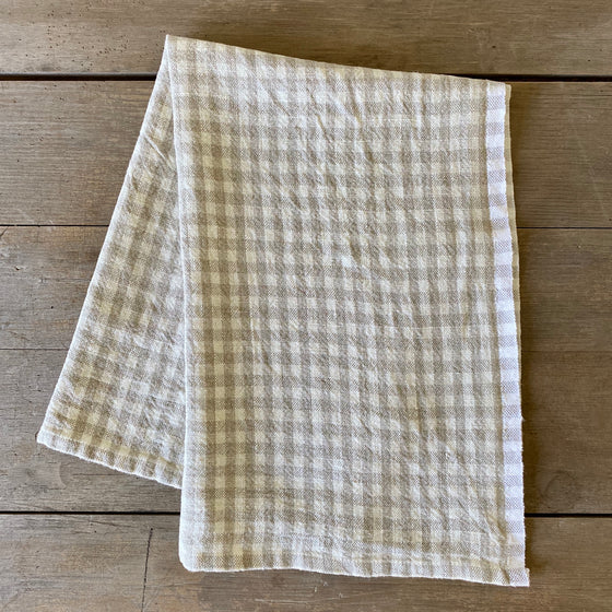 Natural Gingham Linen Dish Towel