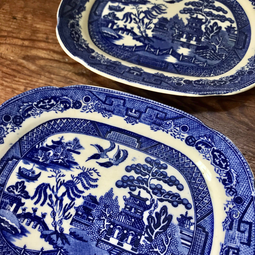 "Antique 9"" English Blue Willow Platters"