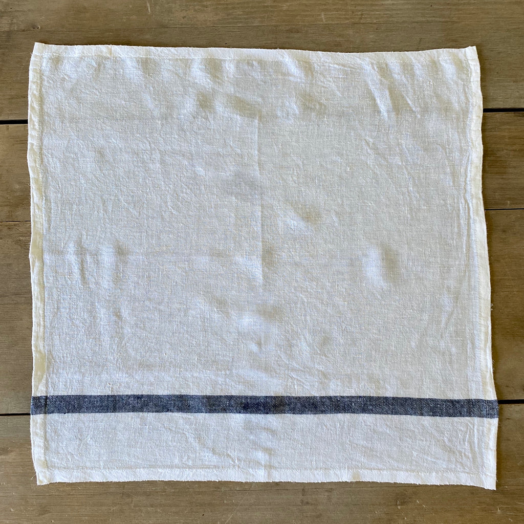 Set of Four White and Navy Stripe Linen Napkins