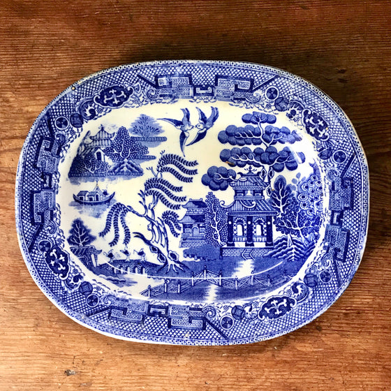 "Antique 10"" English Blue Willow Platter"