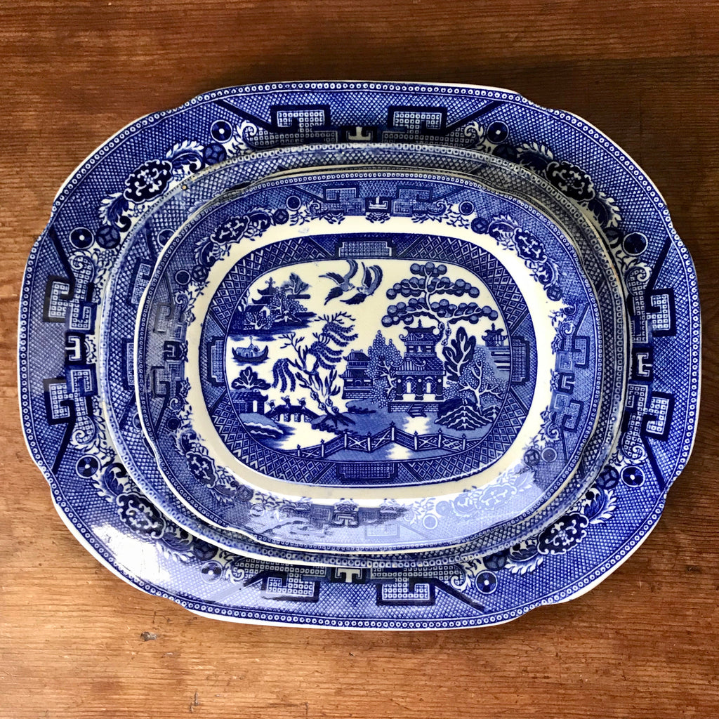 "13.5"", 10.25"" and 9"" Blue Willow Platters"