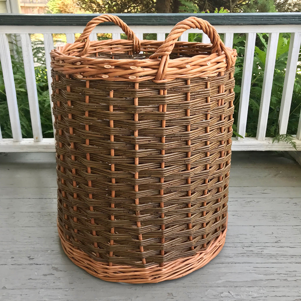 Scottish Round Willow Log Basket with Inward Taper