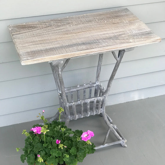 Vintage Twig Side Table with Faux Bois Finish
