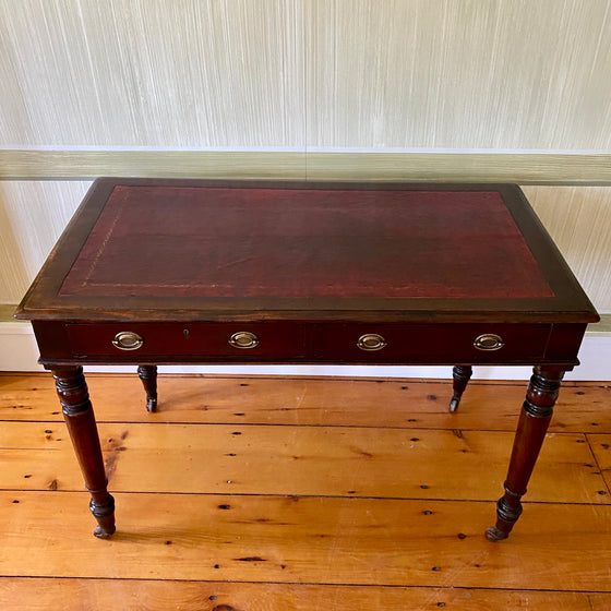 19th Century English Writing Desk with Leather Top