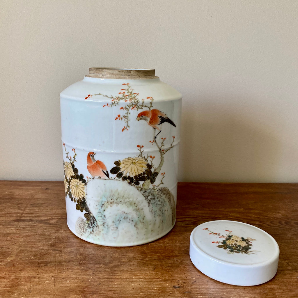 Chinese Porcelain Tea Caddy with Orange Birds