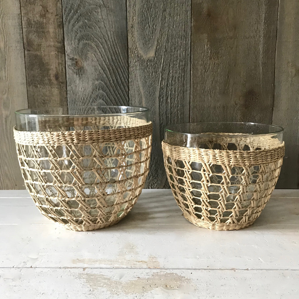 Large and Medium Seagrass Wrapped Bowls