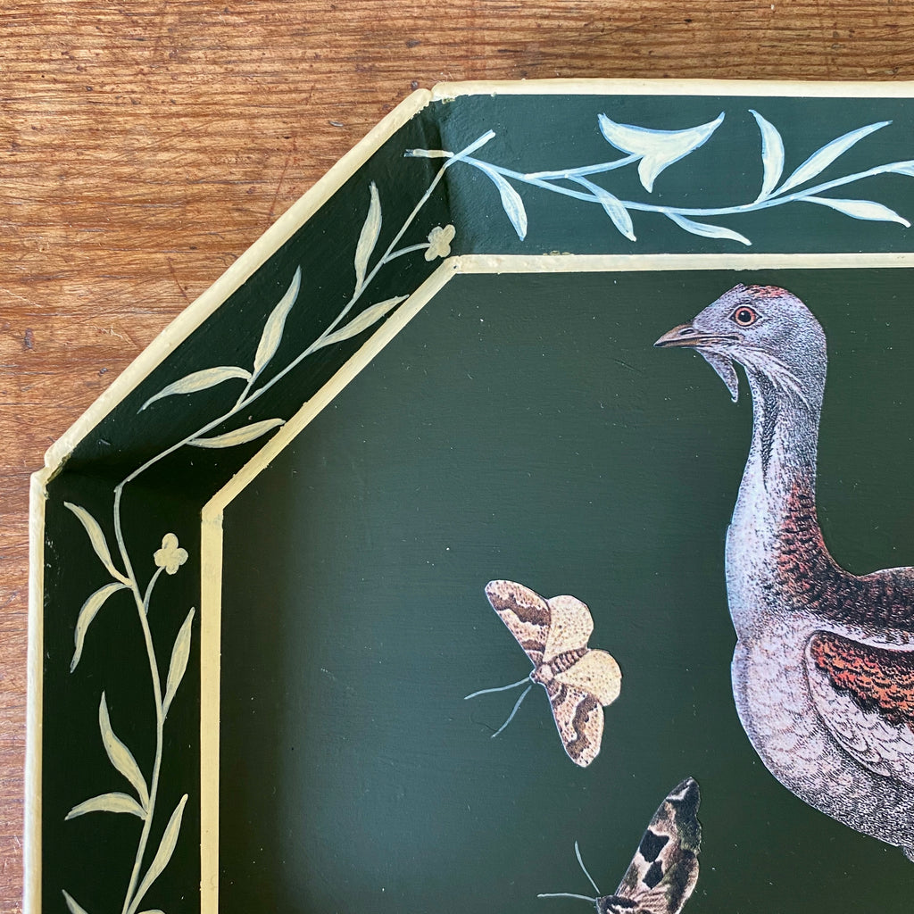 Vintage Bottle Green Tray with Decoupaged Bird - 12.5""