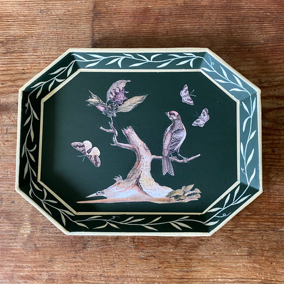 Vintage Bottle Green Tole Tray with Decoupage Bird - 8.75""