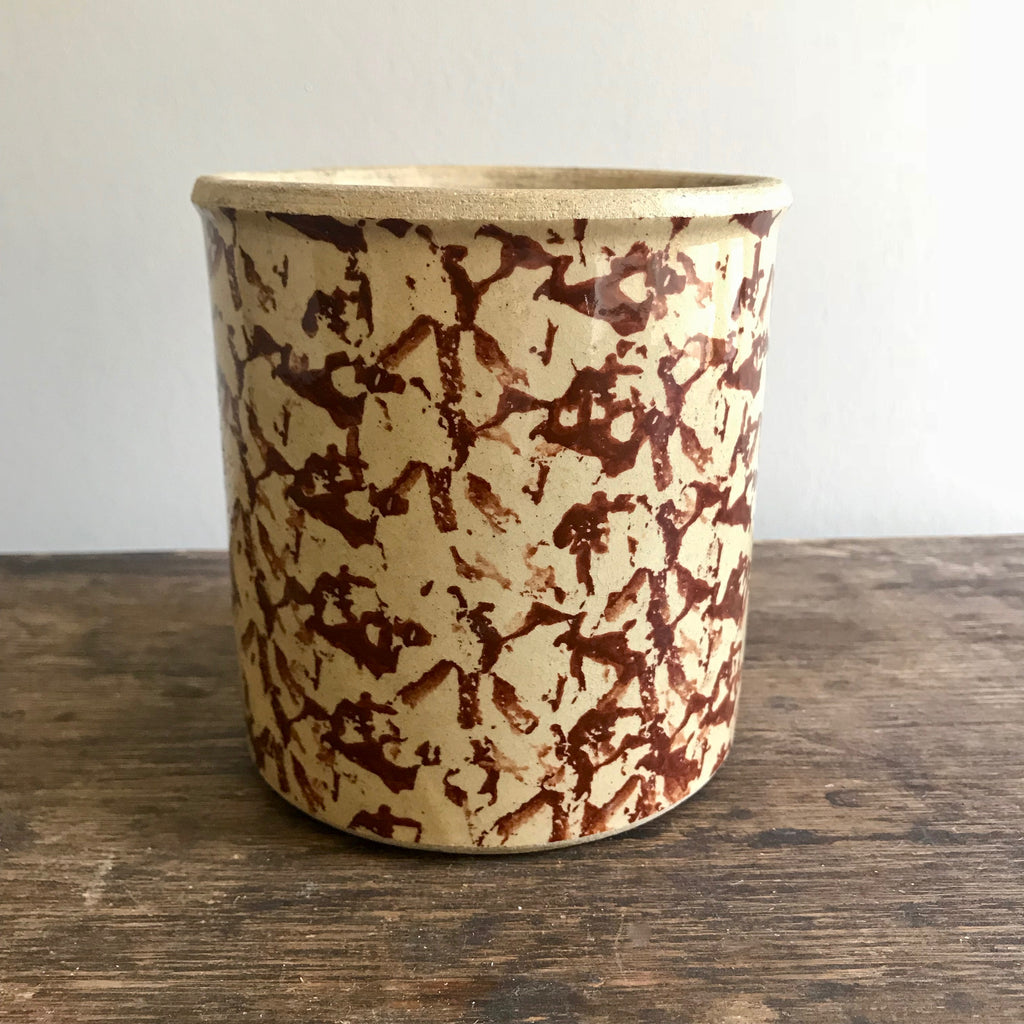 Vintage Brown Spongeware Crock