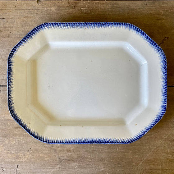 "Antique 15.5"" Feather Edge Leeds Platter"
