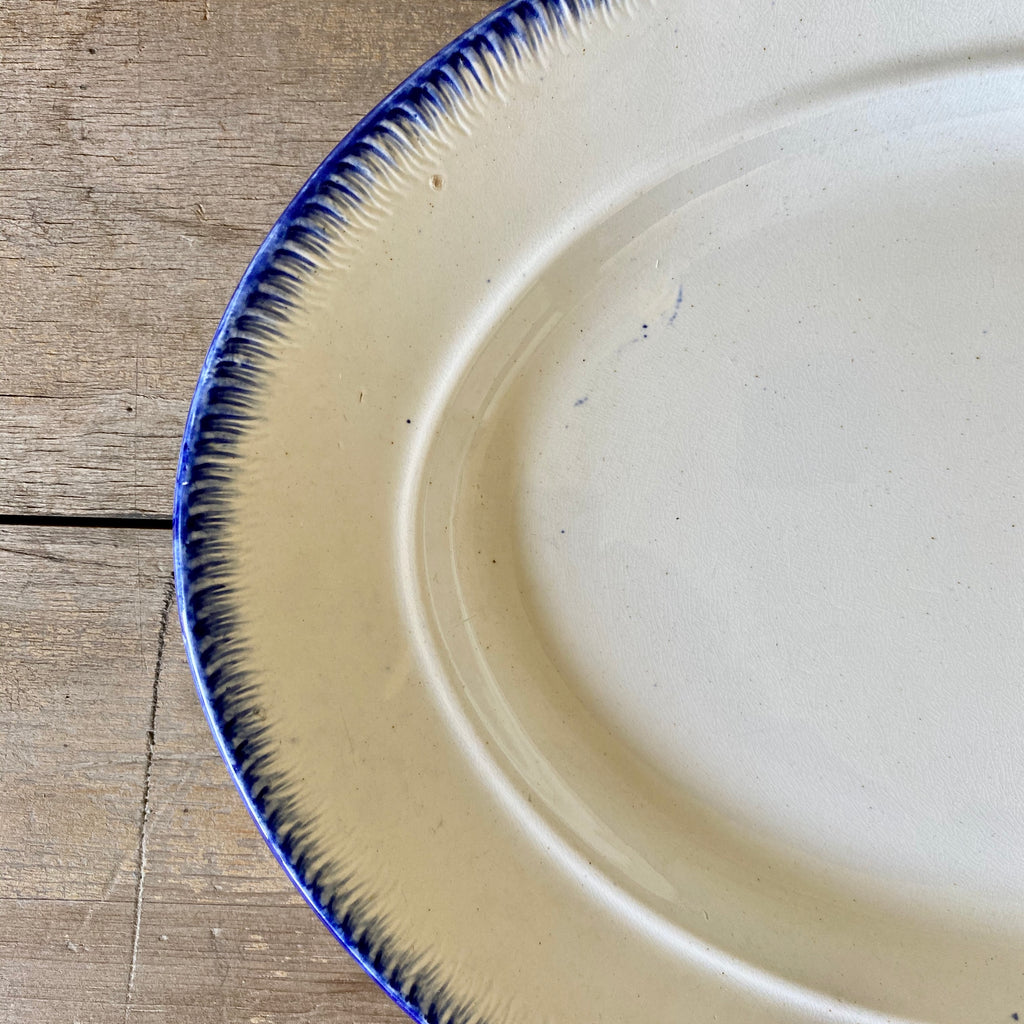 Antique Leeds Oval Platter with Feather Edge