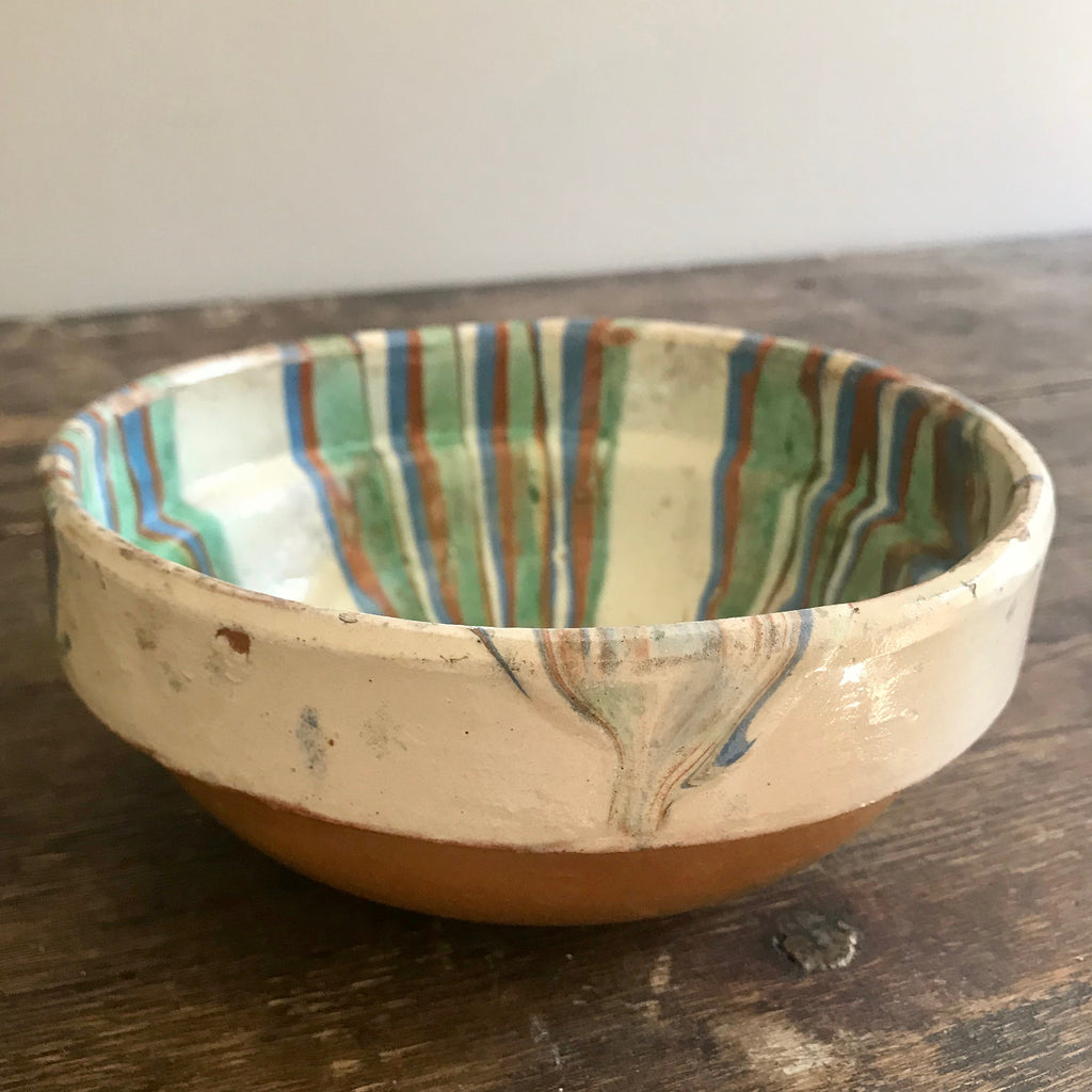 Vintage Redware Bowl with Multicolor Swirl