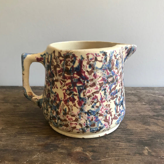 Blue, Brown and Pink Spongeware Jug