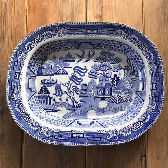 Antique Blue and White Willow Serving Platter