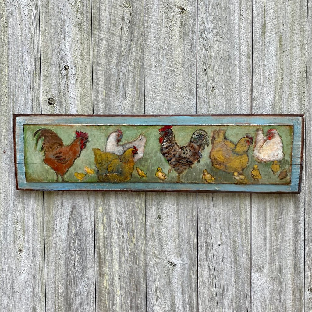 Antique Barn Board Painting of Roosters,  Chickens & Chicks