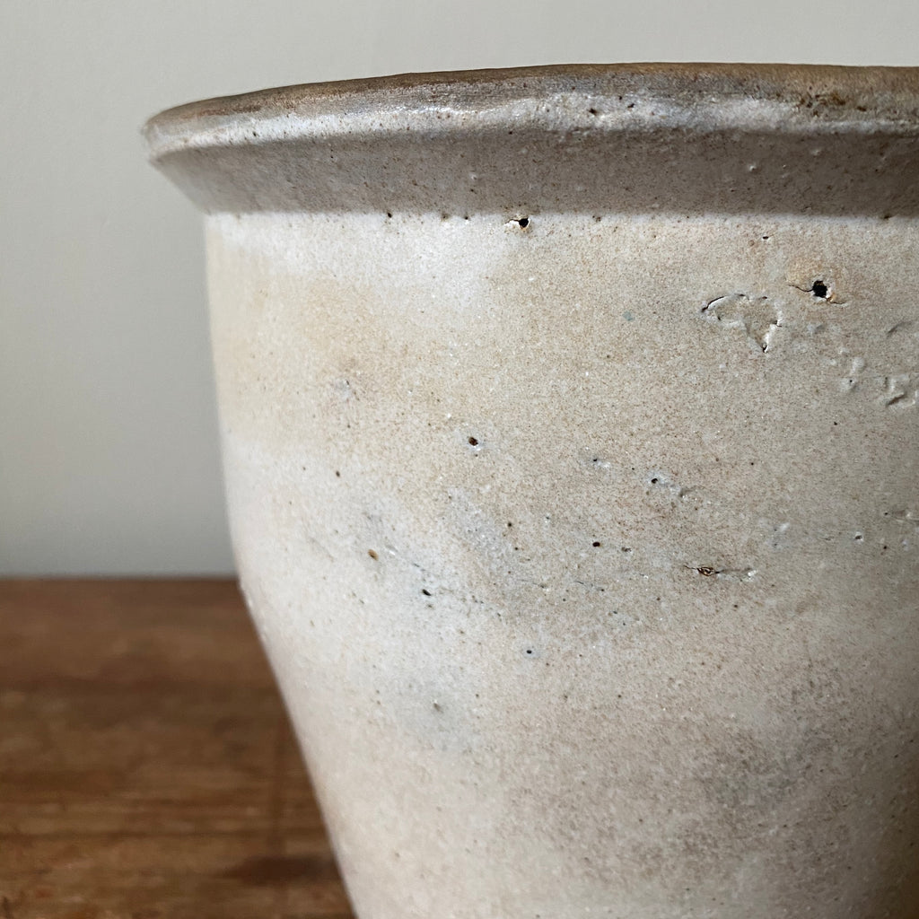 Glazed Stoneware Crock with Taper