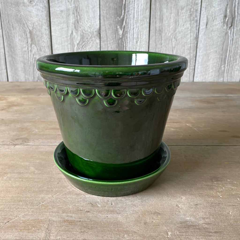 Green Glazed 18 cm pot