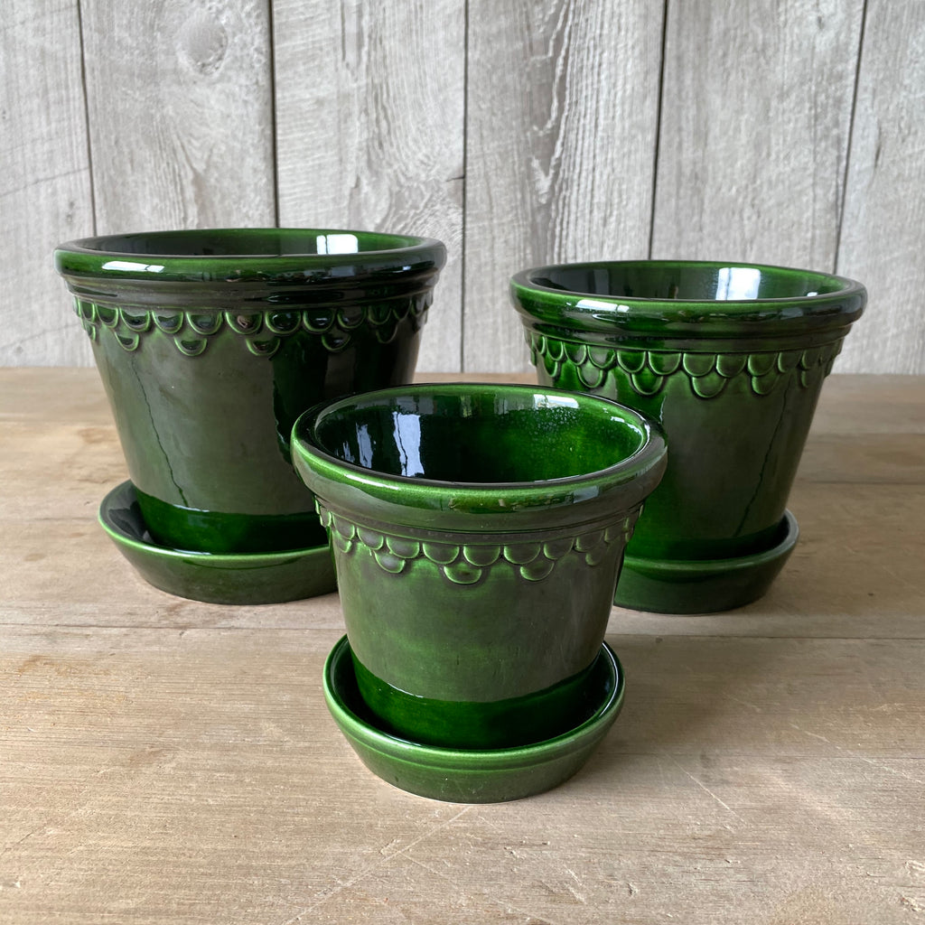 Danish Green Glazed Copenhagen Pots & Saucers