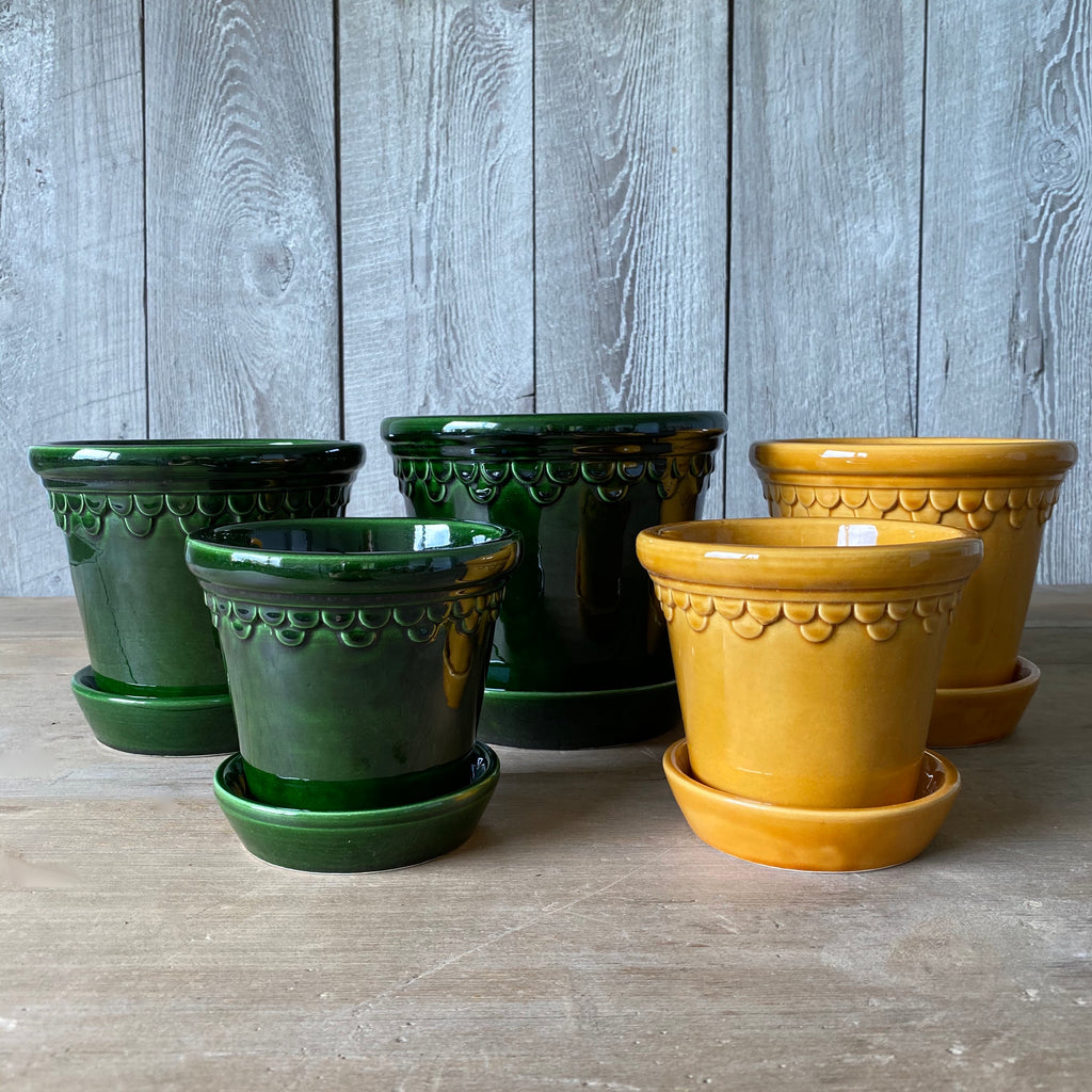 Green and Yellow Glazed Pots & Saucers