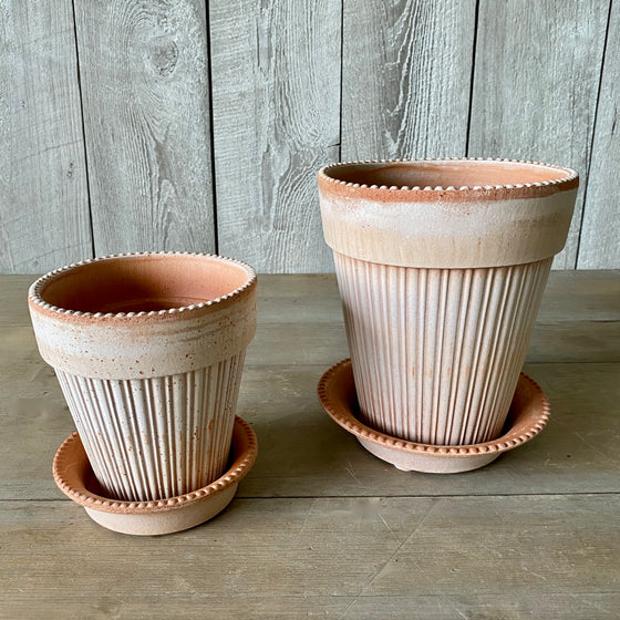 Danish Simona Pot & Saucer in Rosa Terracotta