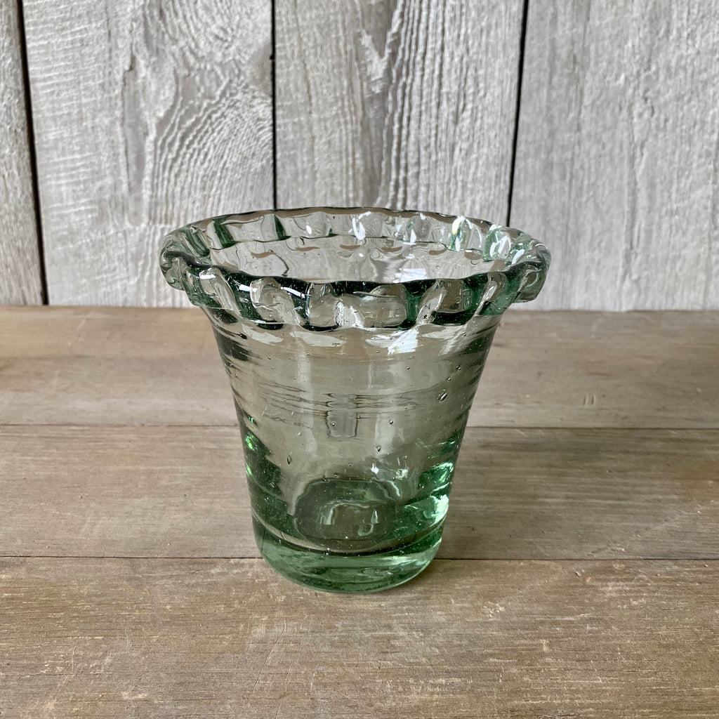 Small Glass Pie Crust Planter
