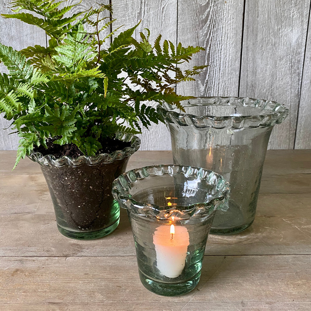Glass Pie Crust Planters