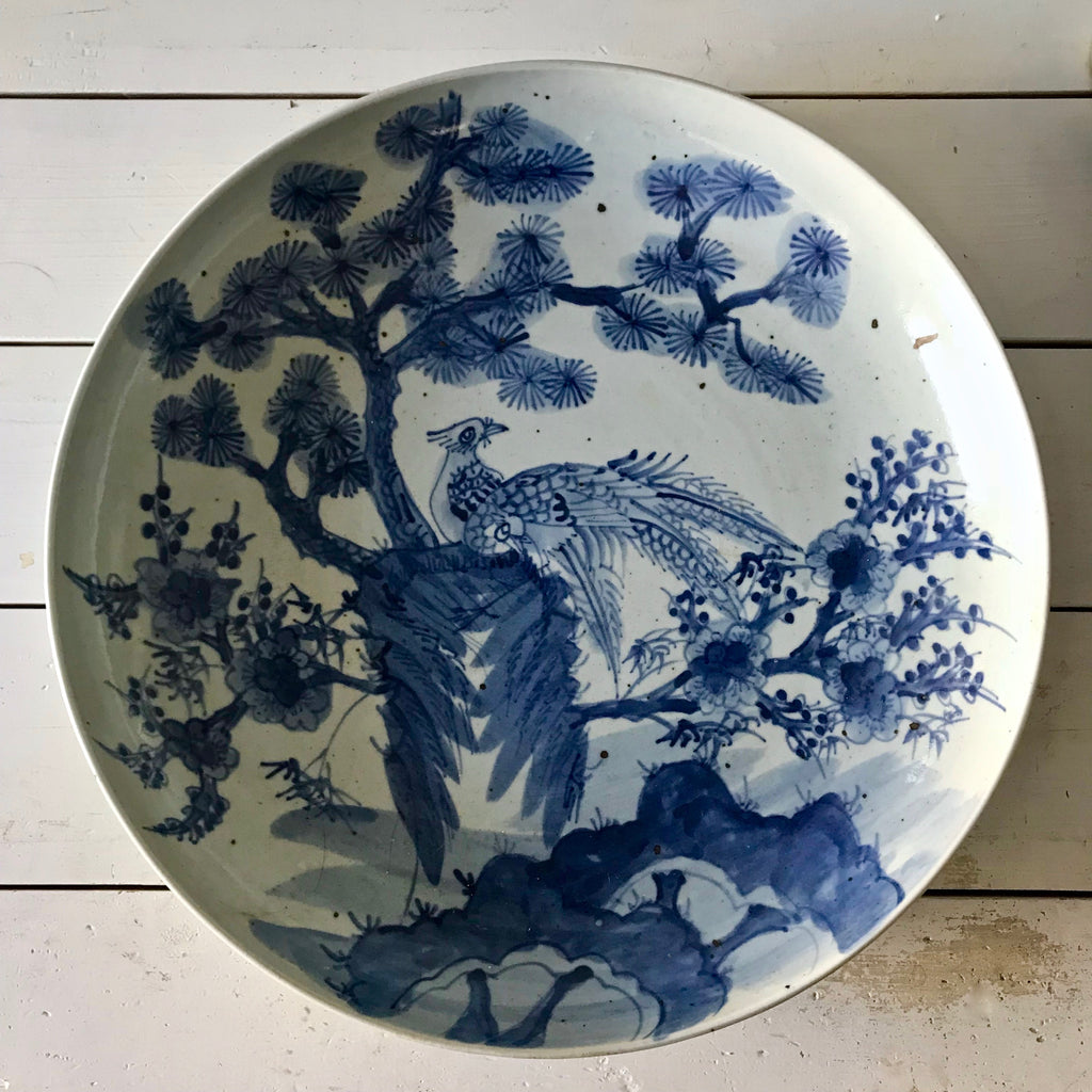 Large Chinese Porcelain Plate with Birds