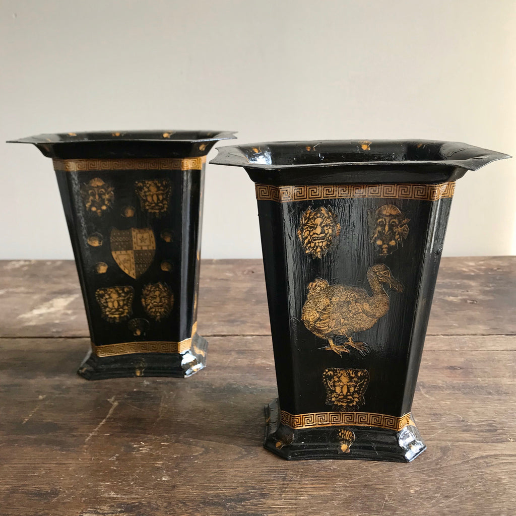Decorative 19th Century Style Decoupaged Tole Containers