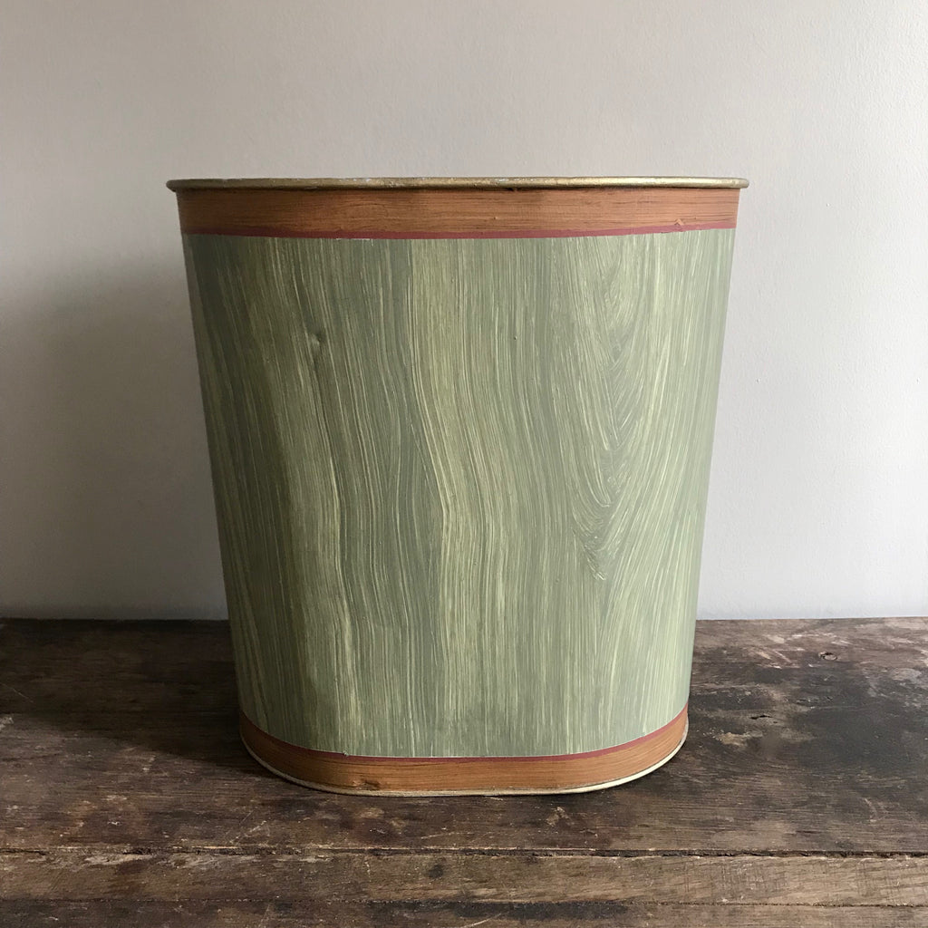 Vintage Tole Wastebasket with Hand-Painted Faux Bois Finish