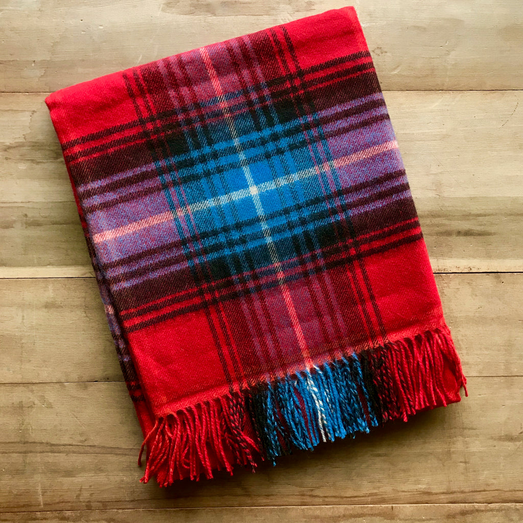 Scottish Tartan Lambswool Throw - Lochcarron Ruby
