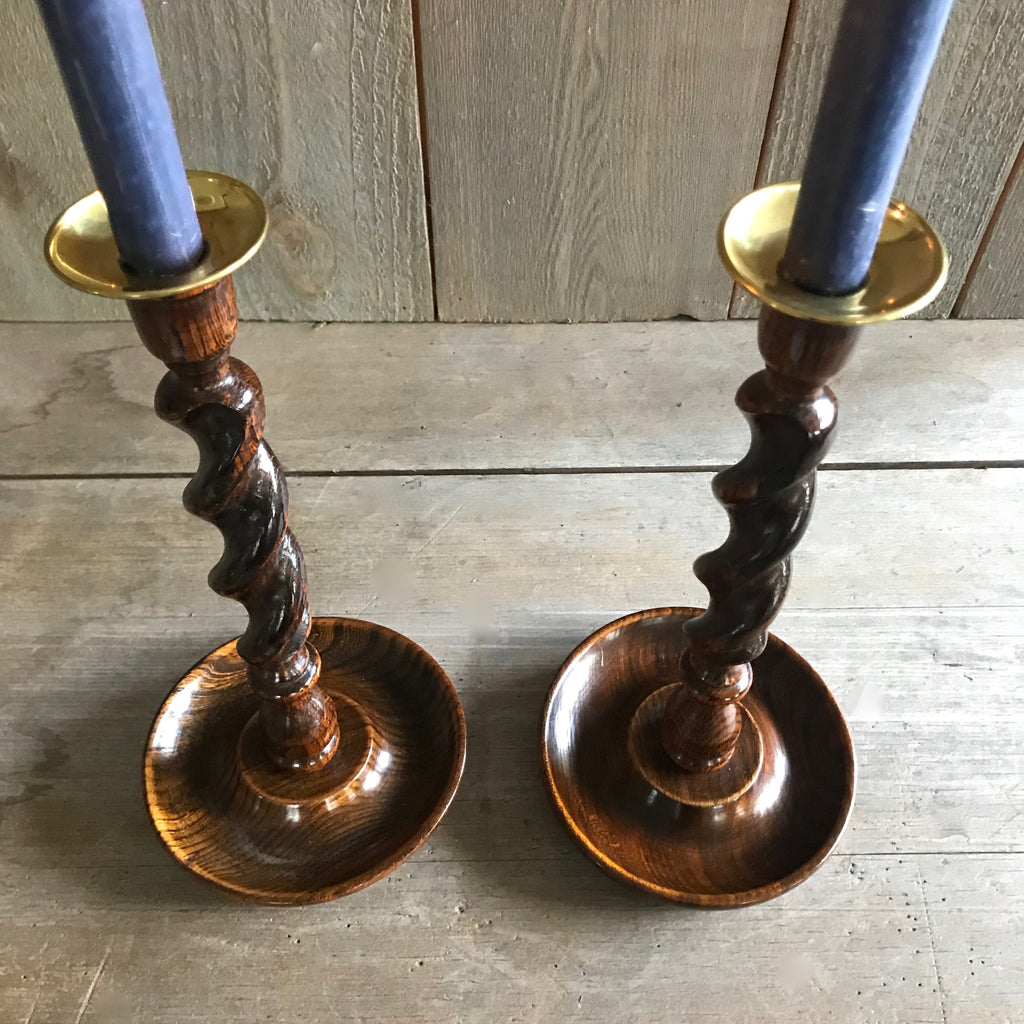 Antique English Oak Barley Twist Candlesticks with Dish Bases