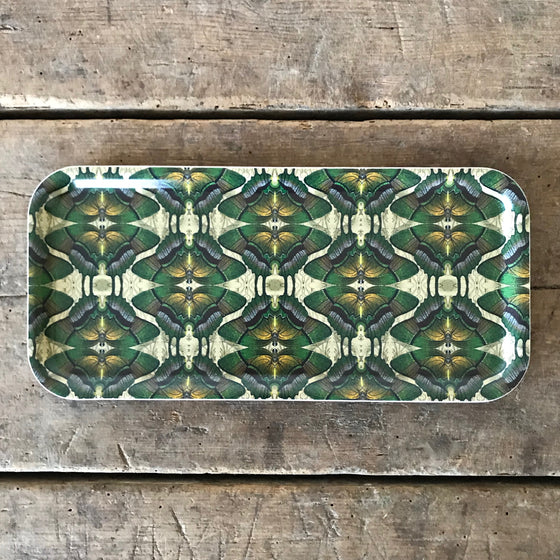Small Rectangular Butterfly Wood Tray