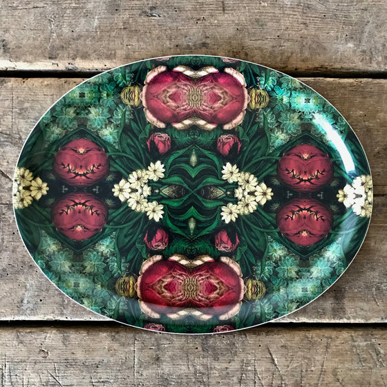 Pink Bouquet Oval Wood Tray