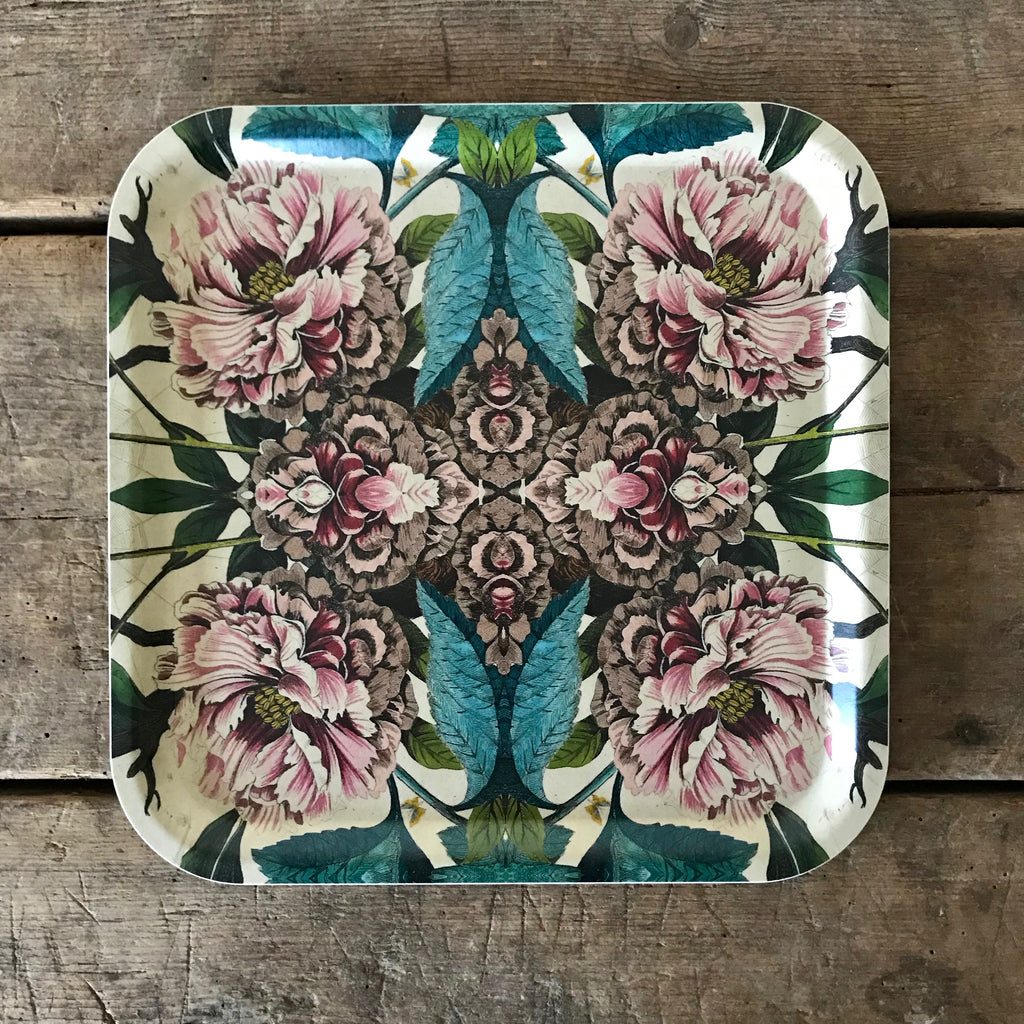 Large Square Peony Wood Tray