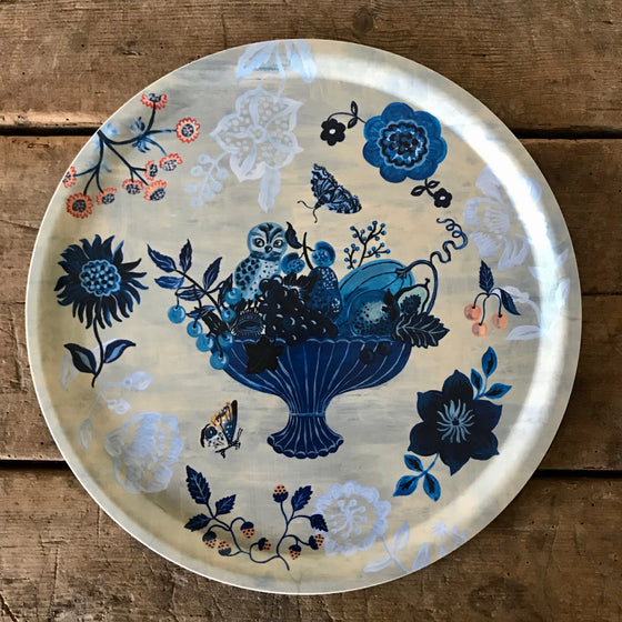 Large Round Blue Story Wood Tray