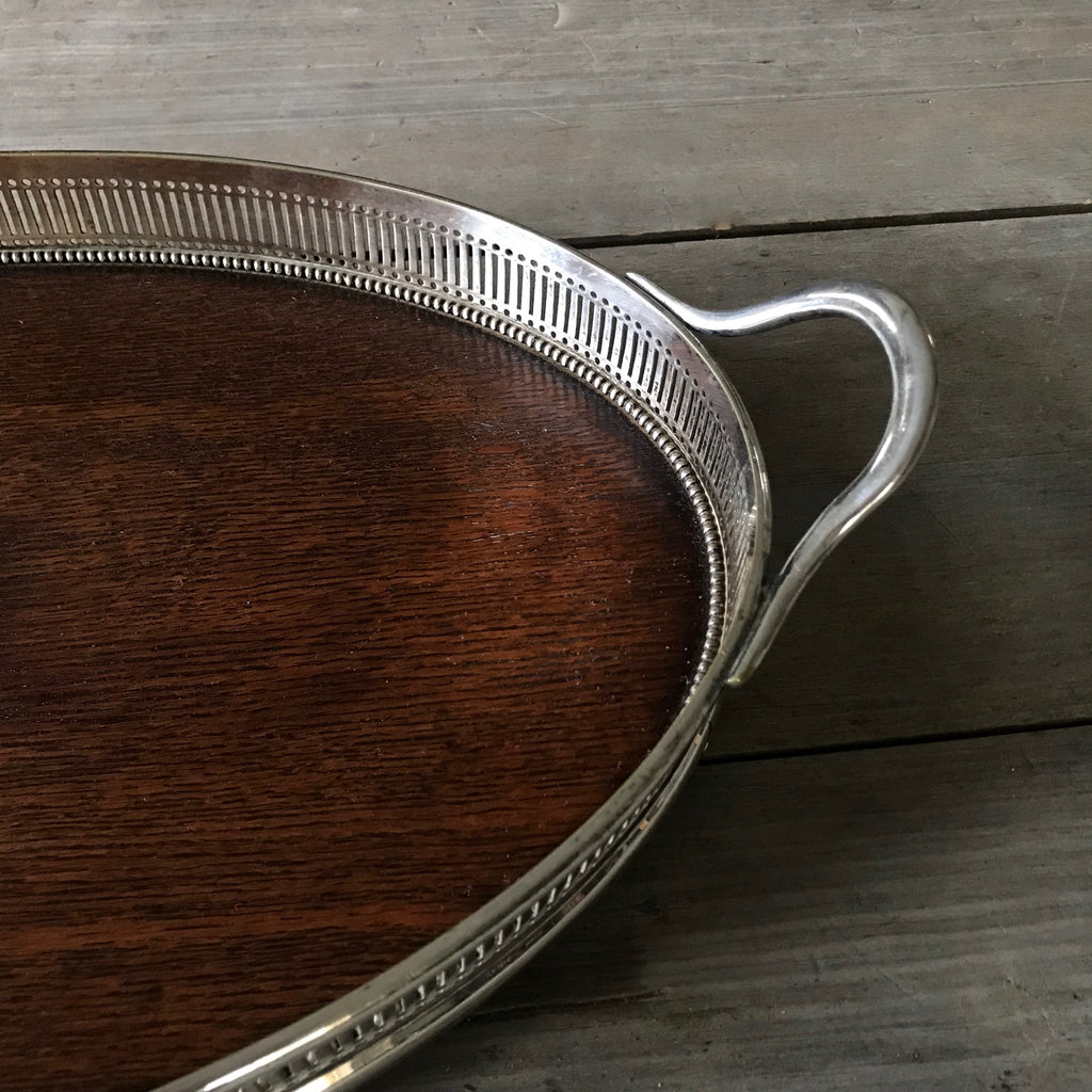 Antique English Oak and Silver Serving Tray
