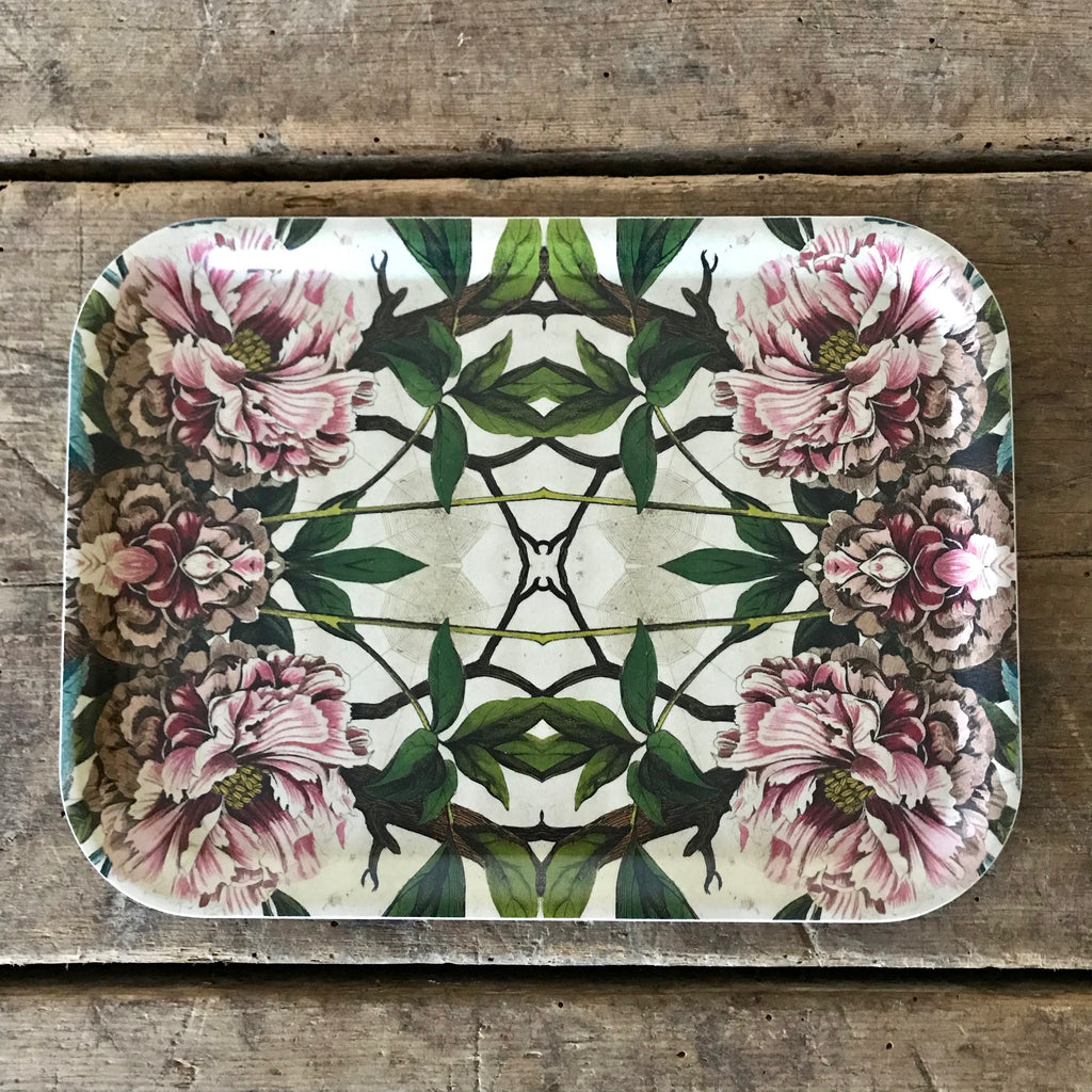 Rectangular Peony Wood Tray