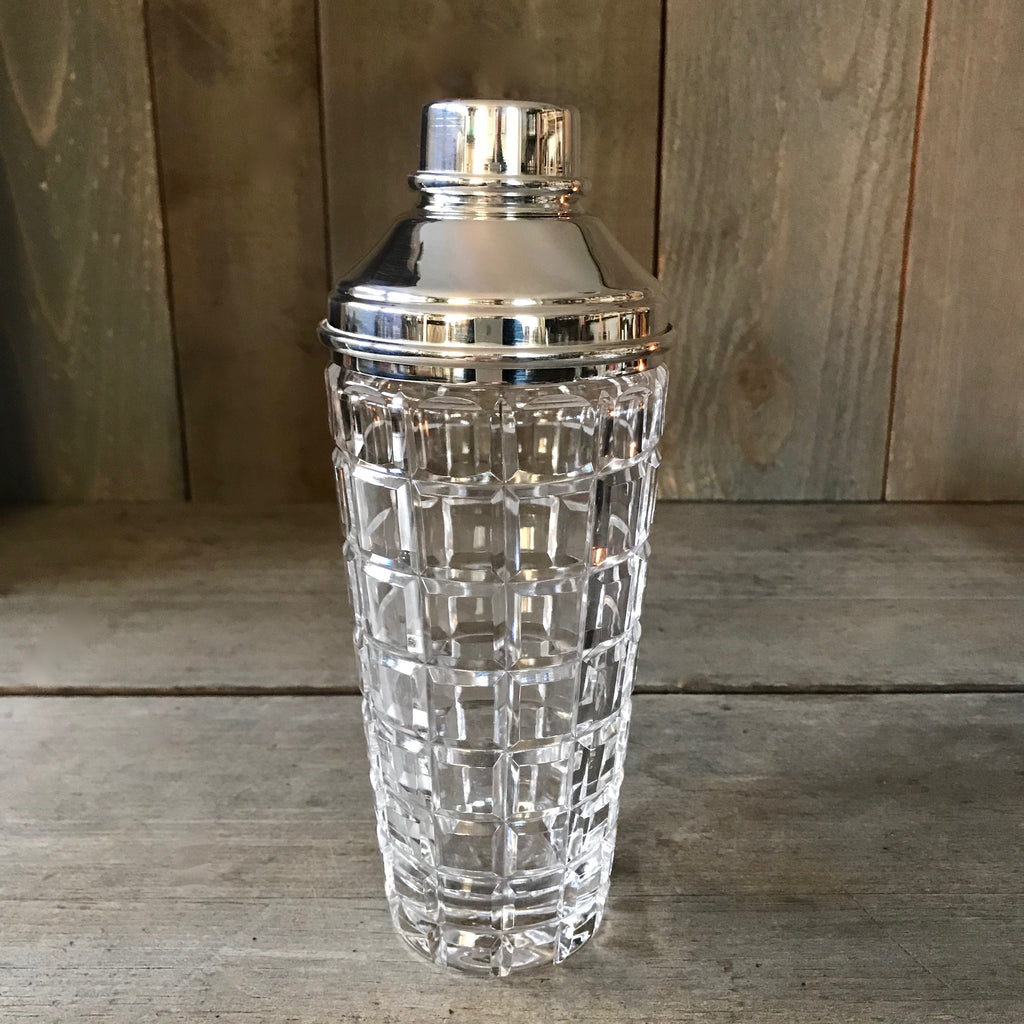 Hobnail Cut Glass and Silver Cocktail Shaker