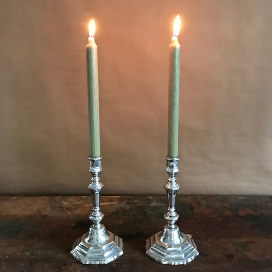 Queen Anne Silver-Plate Candlesticks
