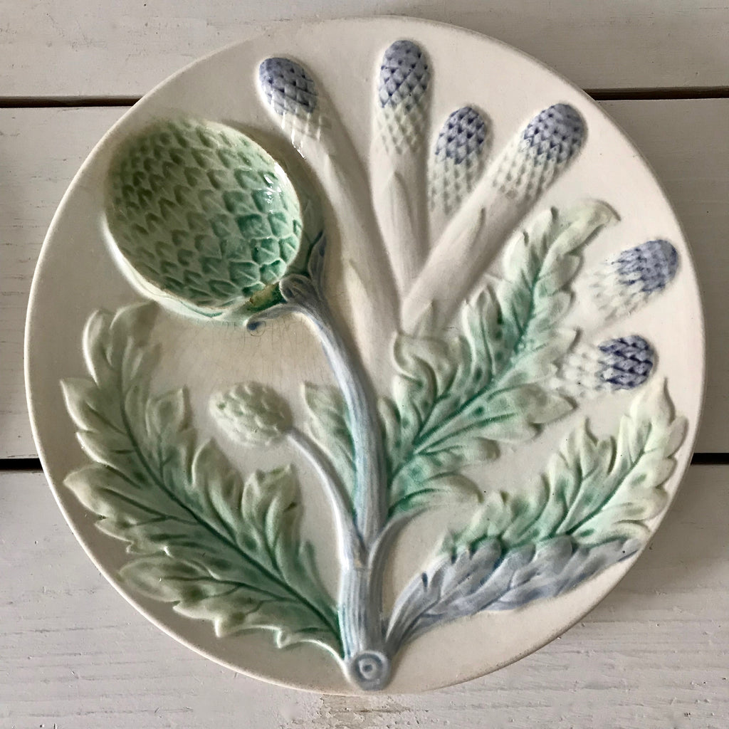 Vintage French Majolica Asparagus Plate