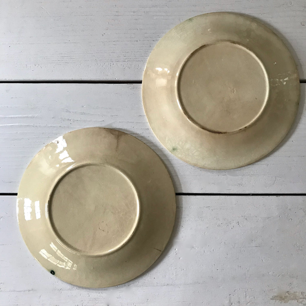Pair of Antique French Majolica Plates
